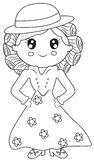 Lady in a dress coloring page Royalty Free Stock Photography