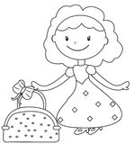 Lady in a dress coloring page Stock Photography