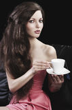 Lady drinkig tea, she take a cup of tea Royalty Free Stock Photography