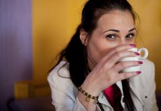 Lady drinking coffee Stock Photos