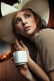 Lady drinking coffee Stock Image
