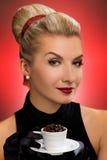 Lady drinking coffee. Beautiful lady drinking coffee. Retro portrait Stock Photography
