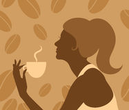 Lady drinking hot coffee Stock Image