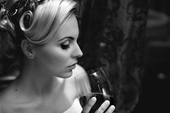 Lady drinking  wine Royalty Free Stock Images