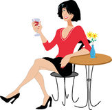 Lady Drinking Wine. Smiling pretty lady drinking wine at a table with flower vase. Red top, short skirt, high heels, black hair. Vector Created image Stock Photo