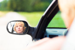 Lady driving a car. Royalty Free Stock Photos