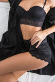 Lady in elegant black lingerie Stock Photo