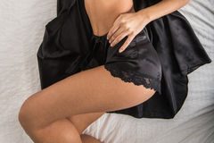 Lady in elegant black lingerie Stock Photography