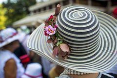 Lady with an elegant hat. Lady with a stylish decorated hat royalty free stock photos