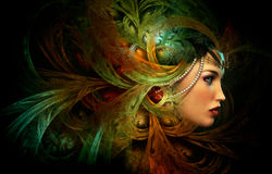 Lady with an elegant headdress, CG royalty free illustration
