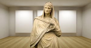 Lady, Empty Gallery, 3d Room With Greek Sculture, Ancient Statue Stock Photography