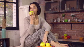 Lady enjoy healthy food at home kitchen. stock footage
