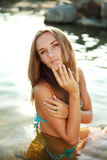 Lady enjoy rest in the water. Close-up beautiful lady enjoy rest in the water Stock Photos