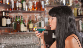 Lady Enjoying Her Martini Stock Photography