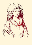 Lady of the epoch. Illustration of a lady in red renaissance Stock Photography