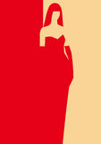 Lady in an evening dress. Brunette, pretty, silouette, emblem, two colors, red and goldish Stock Photography