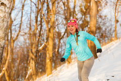 Lady exercising in winter Royalty Free Stock Photography