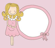 Lady Expecting Frame. Illustration of a cute lady expecting a baby girl Royalty Free Illustration