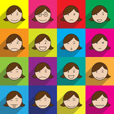 Lady face icon in multi color Stock Images