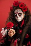 Lady With Facepaint and Roses Stock Photos