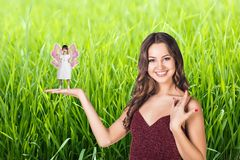 Lady with a fairy Stock Photo