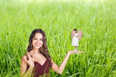 Lady with a fairy Royalty Free Stock Photo