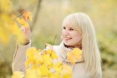 Lady in  fall Royalty Free Stock Images