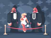 Lady famous star with bodyguards Stock Photography