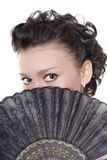 Lady with fan Royalty Free Stock Photos