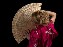 Lady with fan Stock Photos