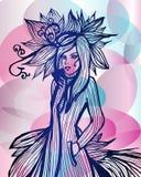 Lady in fantasy fashion dress Stock Image