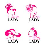 Lady fashion logo with woman face Wearing crown jewelery, hat goggles vector design Royalty Free Stock Photos