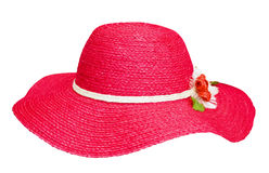 Lady fashion red hat. With flower isolated on white background Stock Photos