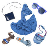 Lady fashion set of summer outfit blue color Stock Image