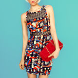 Lady in fashionable dress bright printsand accessories clutch. Royalty Free Stock Photography