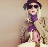 Lady in fashionable hat Stock Photography