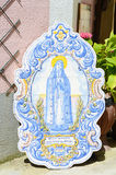 Lady of Fatima in painted old ceramic tiles sintra, Portugal Royalty Free Stock Photography