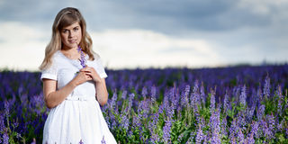 Lady in a field Royalty Free Stock Photography
