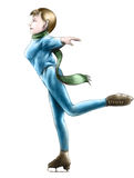 Lady figure skater - 3. Smiling lady on figure skates. Blue costume and green scarf Royalty Free Stock Photography