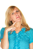 Lady with Finger on Chin Stock Photo