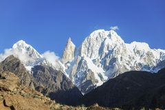 Lady finger and Hunza peak with snow capped. Hunza valley, Gilgit-Baltistan, Pakistan stock photos