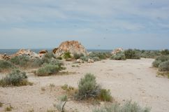 Lady Finger Point Trail Highlights - Antelope Island. Highlighting ancient quartzite rock formations atop the Lady Finger Point Trail in Antelope Island State stock images
