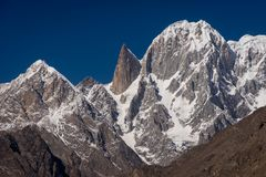 Lady finger and Ultar Sar mountain peak in Hunza valley, Pakista. N, Asia stock image