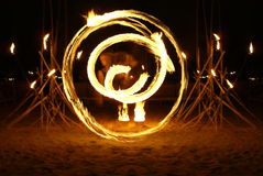 Lady fire dancer Royalty Free Stock Photo