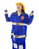 Lady firefighter celebrating success Stock Photos