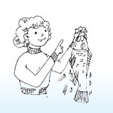 Lady and fish. Hand drawn illustration of a lady holding a fish vector illustration
