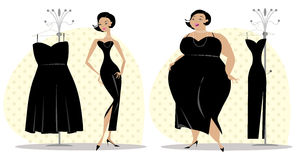 After and before diet. Lady fitting dress after and before diet Royalty Free Stock Image