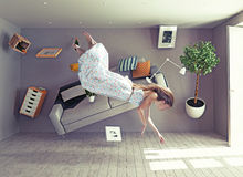A lady flies in zero gravity room Royalty Free Stock Photos