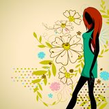 Lady on Floral Background Royalty Free Stock Images