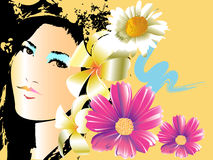 Lady and floral design Stock Images